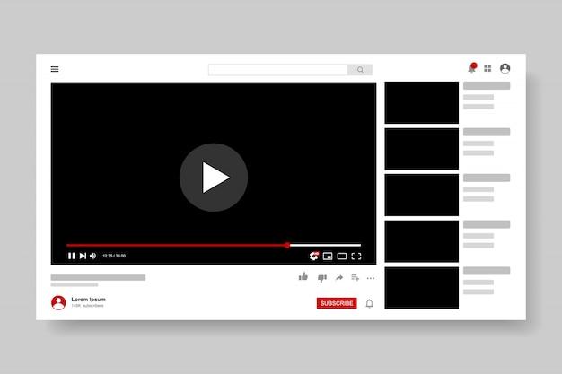 Projekt szablonu odtwarzacza wideo. makieta okna transmisji na żywo, odtwarzacz. koncepcja mediów społecznościowych.