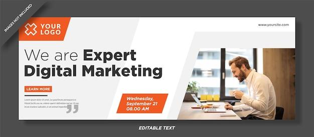 Projekt szablonu okładki na facebooku do marketingu cyfrowego