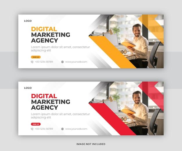 Projekt szablonu okładki na osi czasu cyfrowego marketingu biznesowego na facebooku