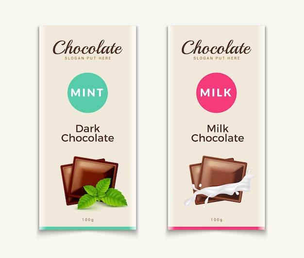 Projekt szablonu opakowania czekolady. czekoladowy wzór produktu marki. pakiet luksusowy projekt wektor.