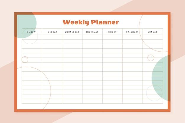 Projekt szablonu organizatora tygodnia