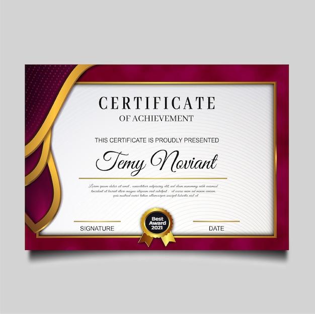 Projekt szablonu osiągnięcia luksusowego certyfikatu