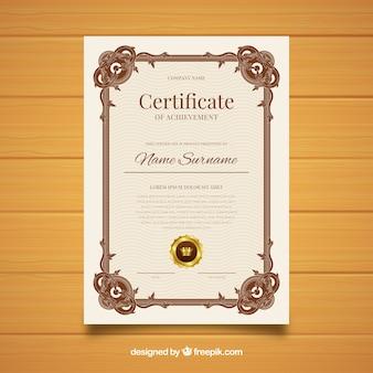 Projekt szablonu ozdobnych certyfikatu vintage