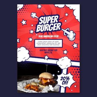 Projekt szablonu plakatu amerykańskiej żywności