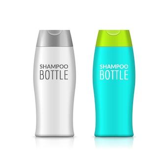 Projekt szablonu plastikowej butelki szamponu lub butelki z żelem pod prysznic. pusta makieta. krem lub balsam do kąpieli.