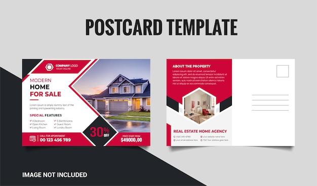 Projekt szablonu pocztówki nieruchomości z czerwonym i czarnym kształtem premium