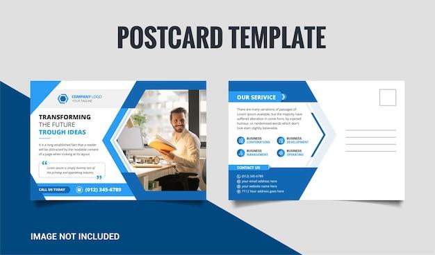 Projekt szablonu pocztówki nowoczesnej kreatywnej firmy w jasnoniebieskim i granatowym kształcie