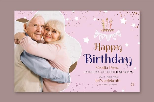 Projekt szablonu poziomy baner urodziny