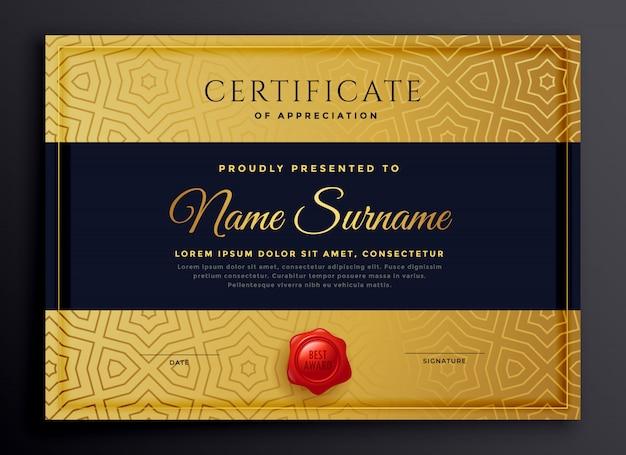 Projekt szablonu premium złoty certyfikat