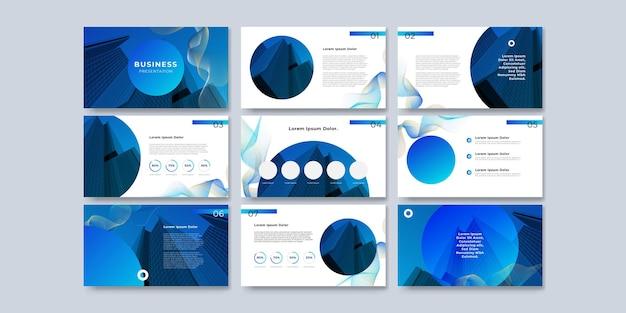 Projekt szablonu prezentacji i projekt układu strony dla broszury, książki, czasopisma, raportu rocznego i profilu firmy z projektem elementów graficznych informacji