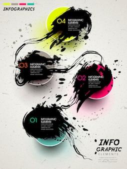 Projekt szablonu retro infografika z elementami atramentu kaligrafii