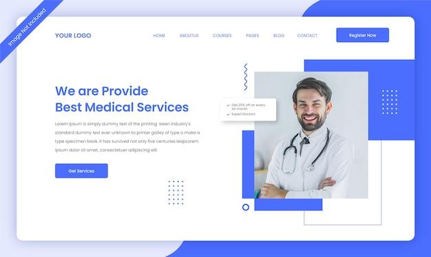 Projekt szablonu strony docelowej strony internetowej firmy medycznej w zakresie opieki zdrowotnej