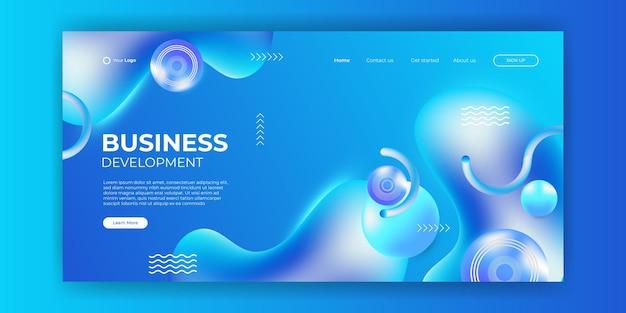 Projekt szablonu strony internetowej i dynamiczne kształty linii strony docelowej niebieskie tło. ilustracja wektorowa do tworzenia aplikacji, szablonów mobilnych, interfejsu użytkownika