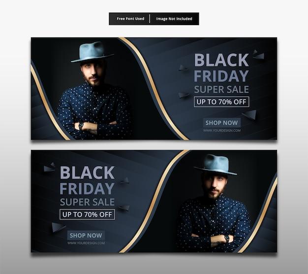Projekt szablonu super sprzedaży transparent czarny piątek.