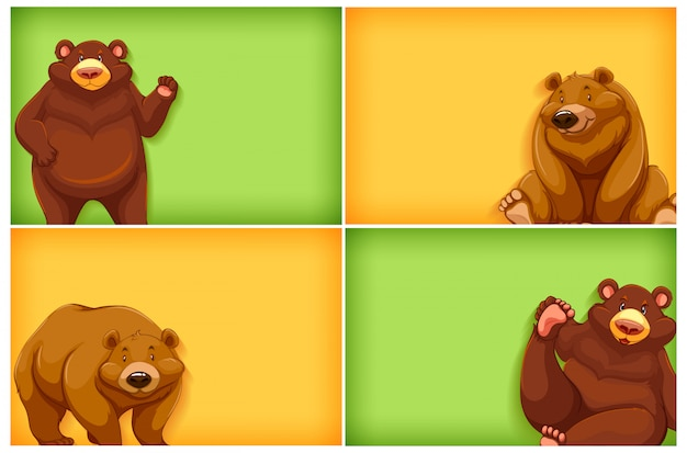 Projekt szablonu tła z jednolitym kolorem i niedźwiedziami grizzly