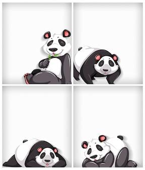 Projekt szablonu tła z jednolitym kolorem i słodką pandą