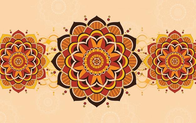 Projekt szablonu tła z wzorami mandali