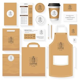 Projekt szablonu tożsamości korporacyjnej kawiarni z logo kawiarni i szklanką kawy. karta kawiarni restauracji, ulotka, menu, pakiet, jednolity zestaw.