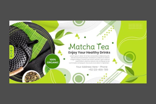Projekt szablonu transparent herbaty matcha