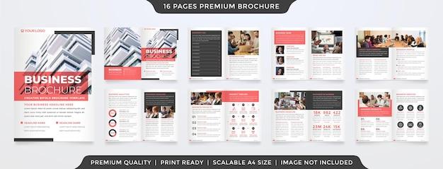 Projekt szablonu układu broszury bifold z czystym stylem i minimalistycznym wykorzystaniem koncepcji dla propozycji biznesowych i raportu rocznego