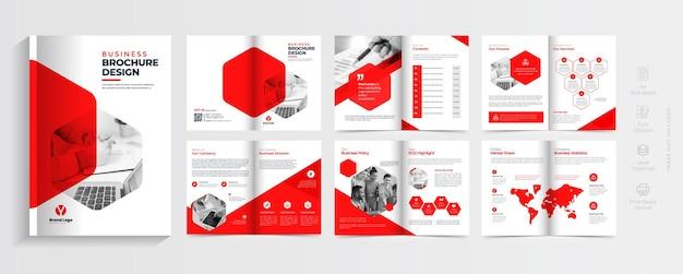 Projekt szablonu układu broszury biznesowej nowoczesny wielostronicowy szablon profilu firmy
