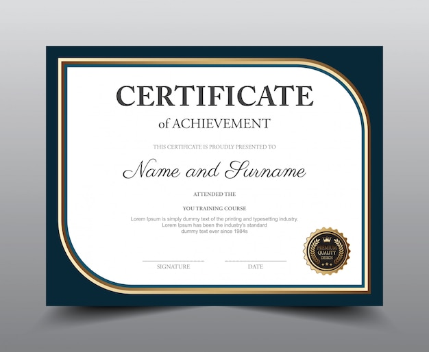 Projekt szablonu układu certyfikatu, styl luksusowy i nowoczesny.