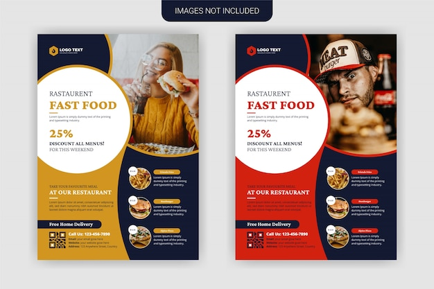 Projekt szablonu ulotki food & restaurant