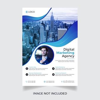 Projekt szablonu ulotki nowoczesnej korporacyjnej agencji marketingu cyfrowego