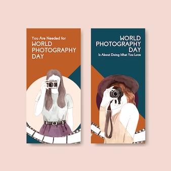 Projekt szablonu ulotki ze światowym dniem fotografii do celów reklamowych i marketingowych