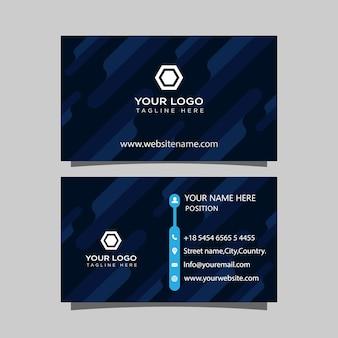 Projekt szablonu wizytówki firmy z abstrakcyjnymi kształtami i niebiesko-białymi akcentami