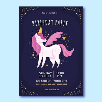 Projekt szablonu zaproszenia urodzinowe płaskie jednorożca