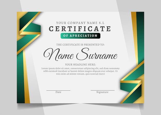 Projekt szablonu zielonego i złotego certyfikatu