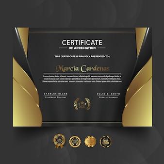 Projekt szablonu złotego i ciemnego certyfikatu