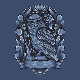 Projekt szczegółowy ilustracji ciemnej sowy
