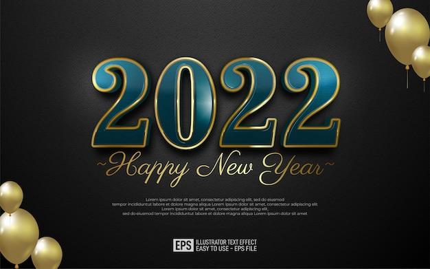 Projekt szczęśliwego nowego roku 2022 w luksusowym numerze