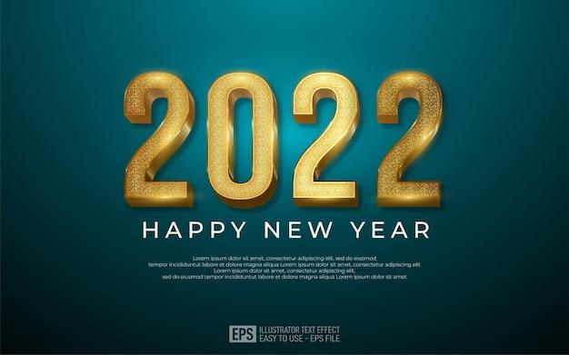 Projekt szczęśliwego nowego roku 2022 w luksusowym złotym numerze
