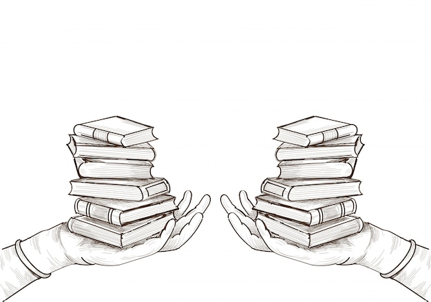 Projekt szkicu książki edukacji wyciągnąć rękę