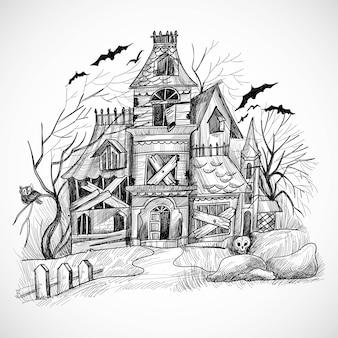Projekt szkicu nawiedzonego domu halloween
