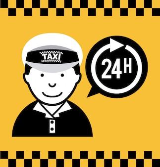 Projekt taksówki nad żółtym backgroundvector ilustracji