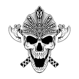 Projekt tatuażu czaszki z toporem wikingów linii sztuki czarno-białej ilustracji