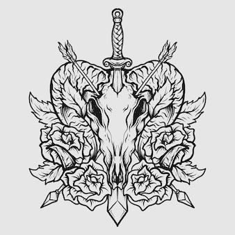 Projekt tatuażu i koszulki czarno-biała ręcznie rysowana czaszka kozy i róża z mieczem i strzałą