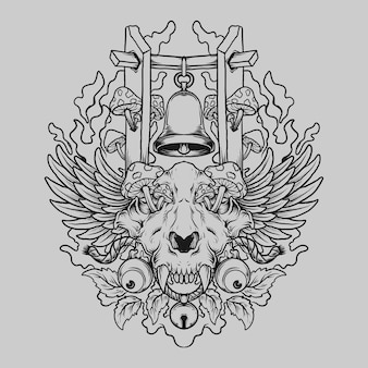 Projekt tatuażu i koszulki czarno-biała ręcznie rysowana czaszka tygrysa z grzybem i dzwonkiem