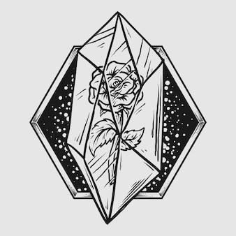 Projekt tatuażu i koszulki czarno-biała ręcznie rysowana róża w kryształowym kamieniu