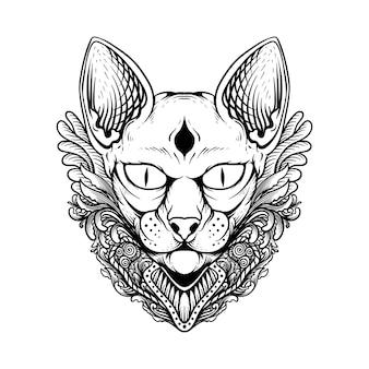 Projekt tatuażu i koszulki czarno-biała ręcznie rysowane ilustracja kot sfinks grawerowanie ornament