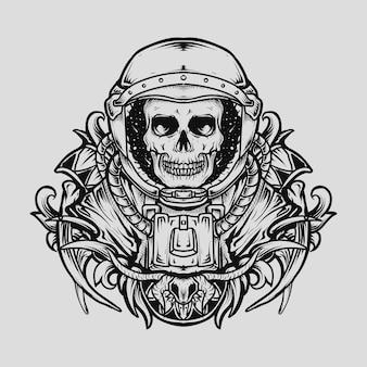 Projekt tatuażu i koszulki czarno-białe ręcznie rysowane ilustracji czaszka astronauty