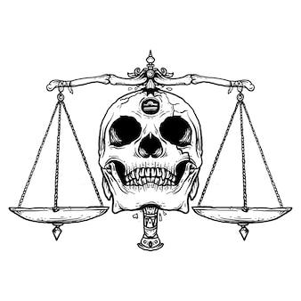 Projekt tatuażu i koszulki czarno-białe ręcznie rysowane ilustracji libra czaszka zodiaku