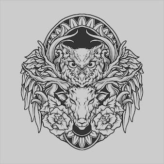 Projekt tatuażu i koszulki czarno-białe ręcznie rysowane ow3l jelenie i róża grawerowanie ornament