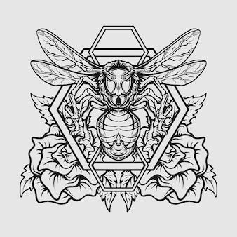 Projekt tatuażu i koszulki czarno-białe ręcznie rysowane pszczoła i róża