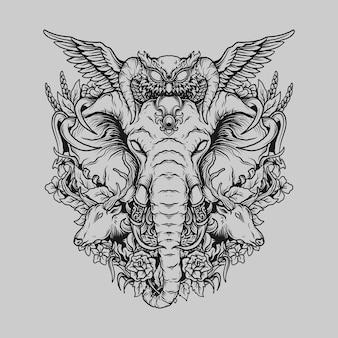 Projekt tatuażu i koszulki czarno-białe ręcznie rysowane zwierzę w ornamentach do grawerowania w lesie