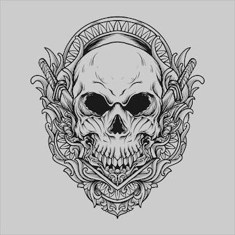 Projekt tatuażu i koszulki czarno-biały ręcznie rysowane ilustracja czaszka grawerowanie ornament